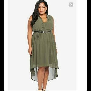 Torrid army green high/low dress with belt